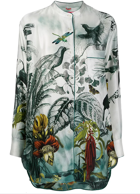Gration Printed Silk Pyjama Oversize Blouse