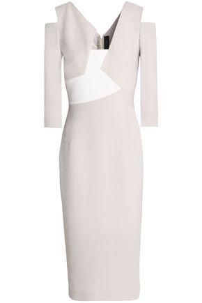 Dove Grey Kiverton Wool Crepe 3/4 Sleeve Dress