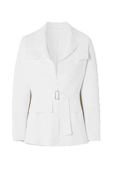 White Belted Stretch Knit Jacket