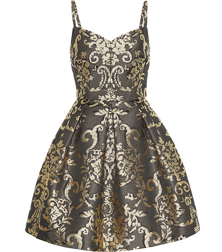 Gold Brocade Cocktail Dress with Full Skirt