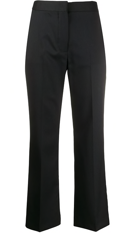 Navy Cropped Tailored Trousers