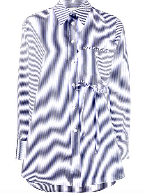 Blue & White Cotton Poplin Shirt w Side Tie Waist