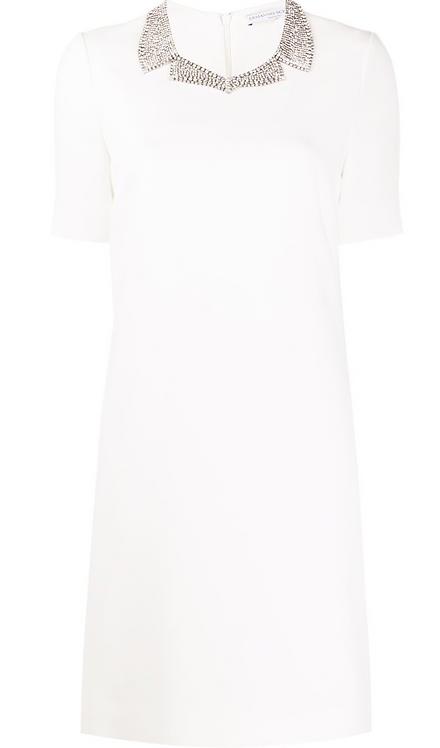 White Cadi Short Sleeve Dress w Crystal Collar