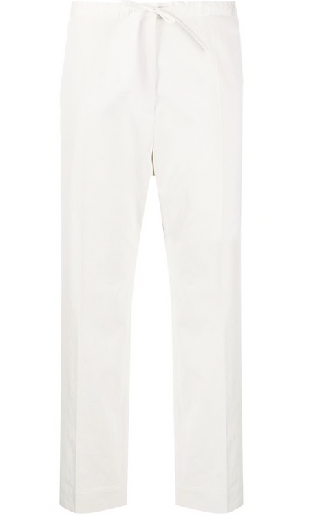 White Cropped Drawstring Trouser
