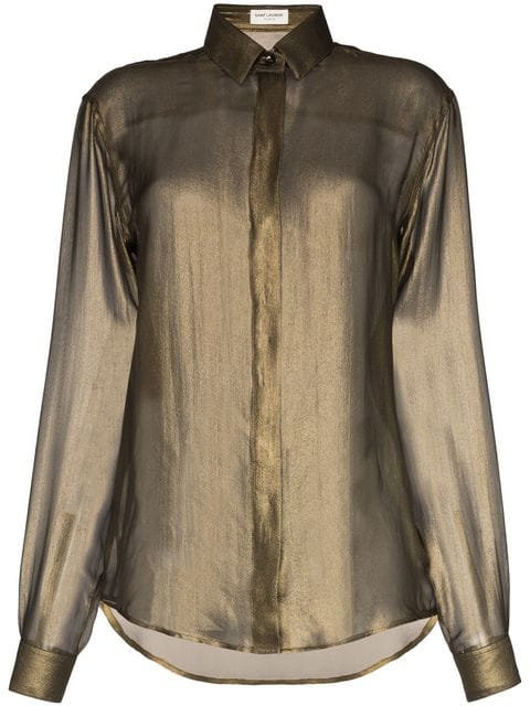 Diaphanous Long Sleeve Silk Blouse