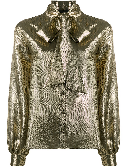 Gold Lame Shirt w Pussy Bow Blouse