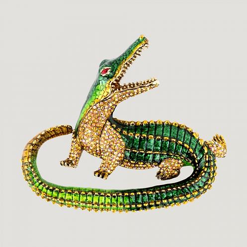 Crystal Crocodile Brooch