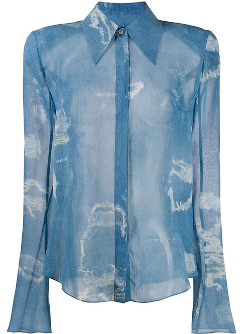 Sky Blue Distressed Cloud Print Shirt
