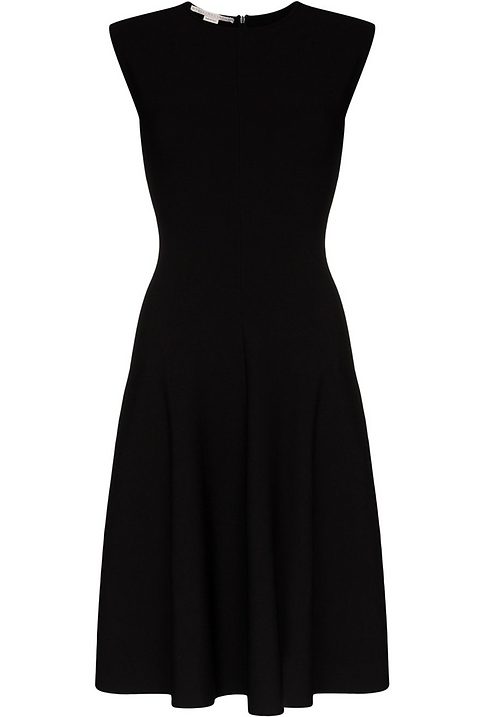 Navy Compact Knit Flared Dress