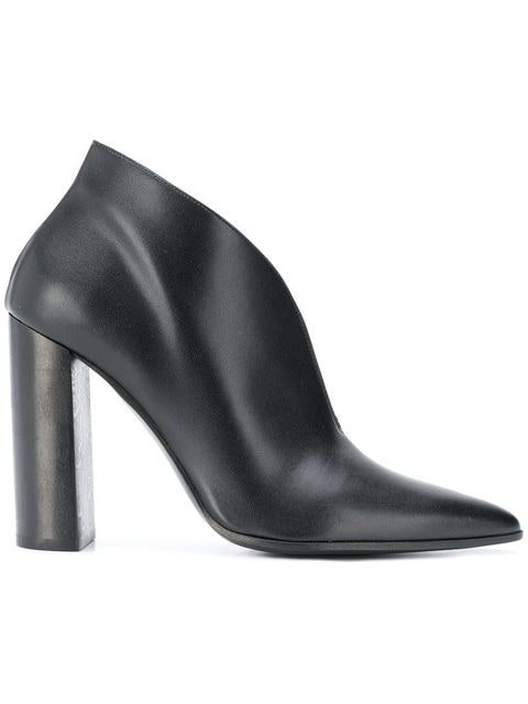 Black Faux Leather High Heel Bootie