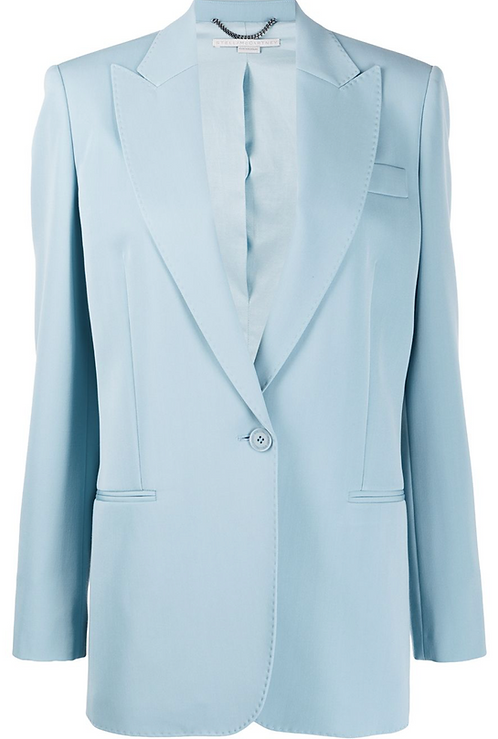 Pale Blue Longline Single Button Blazer