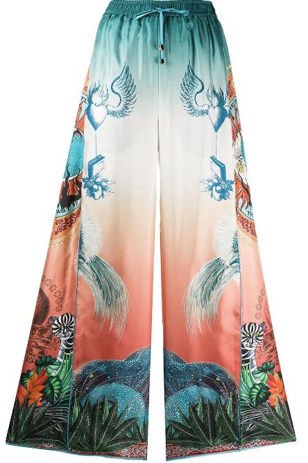 Luna Printed Silk Flared Pyjama Pant