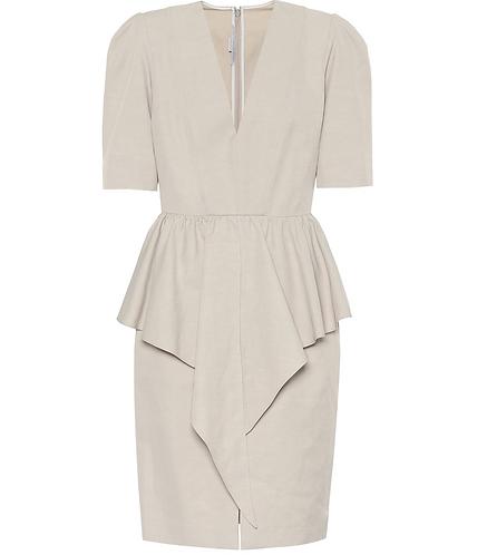 Beige Canvas Short Sleeve Peplum Dress