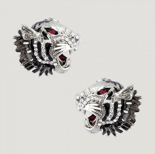 Crystal Tiger Head Stud Earrings