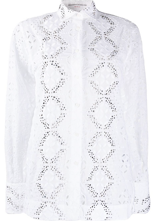 White Eyelet Shirt with Silver Embroidery