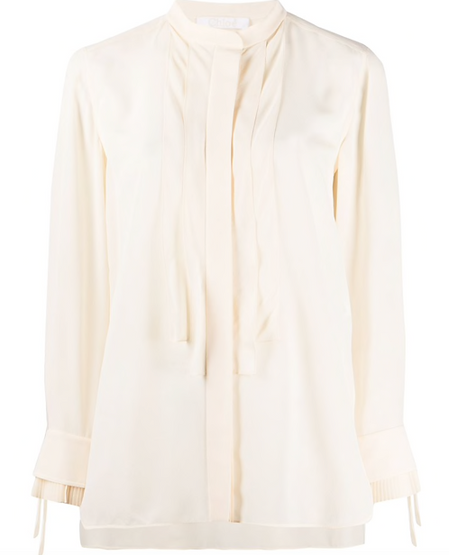 Butter Ivory Crepe De Chine Collarless Longline Blouse w Large Pleat Placket