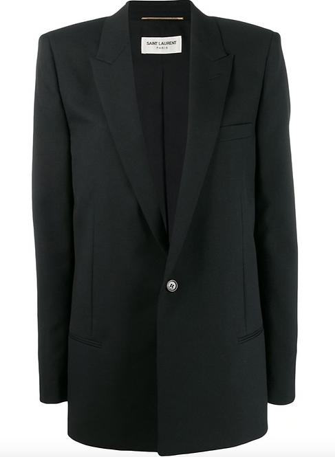 Black Classic Single Button LongLine Blazer