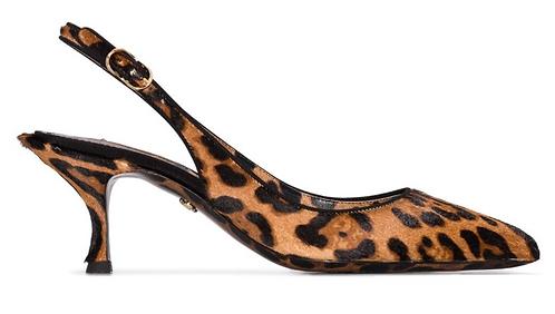 Leopard Ponyskin Slingback 6cm Heel