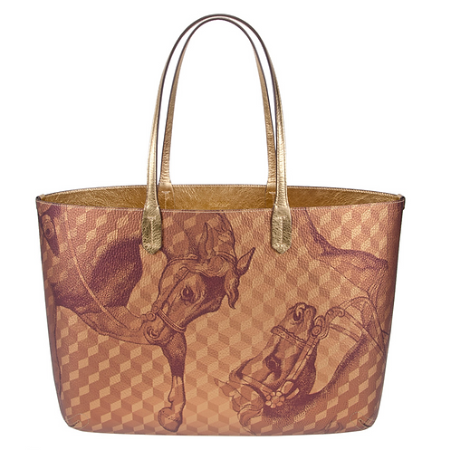 Gold Leather Lined Small Shopper