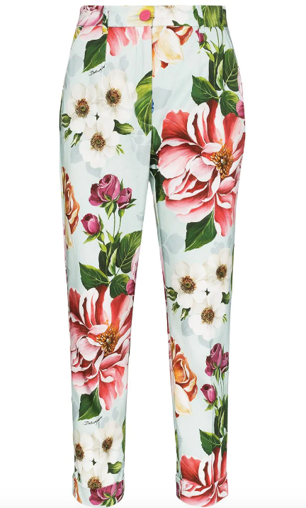 Blue Floral High Waisted Crop Pant