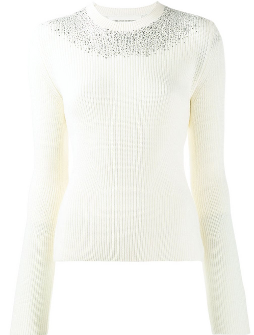 Off White Round Neck Fitted Sweater w Crystal Collared Neckline