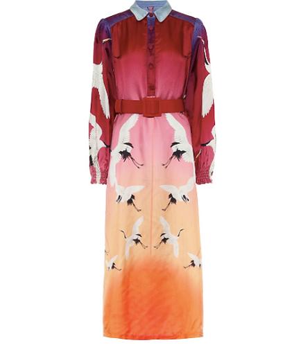 Sterope Printed Twill Midi Dress w Belt