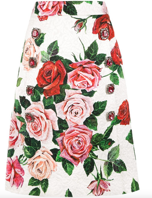 Rose Print A-Line Brocade Skirt with Crystal Embellishments