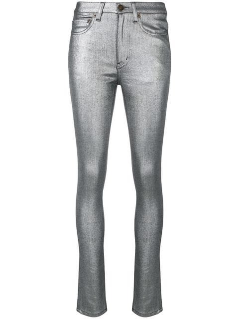 Silver Coated Metallic Skinny Jean