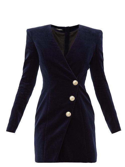 Navy Velvet Wrap Mini Dress with Gold Buttons