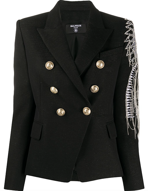 Black Embellished Classic 6 Button Double Breasted Blazer