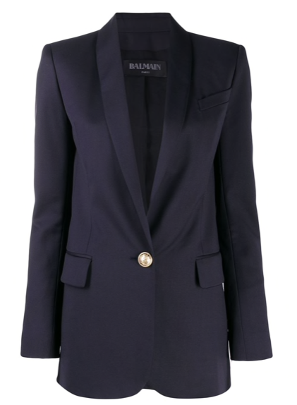 Navy Longline Single Button Wool Blazer