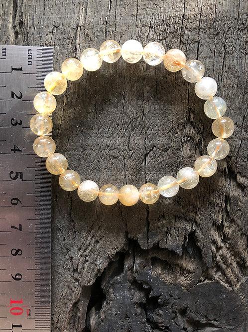 Citrin armbånd 8 mm. perler