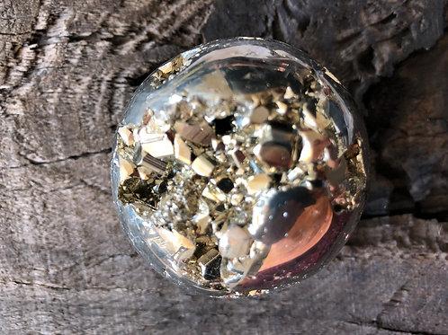 Pyrit kugle ca. 370 gr. diameter ca. 5,5 cm.