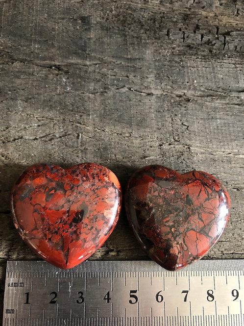 Jaspis Breccie hjerte ca. 35 gr.