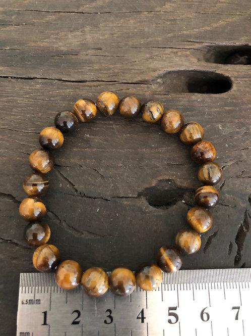 Tigerøje armbånd 8 mm. perler