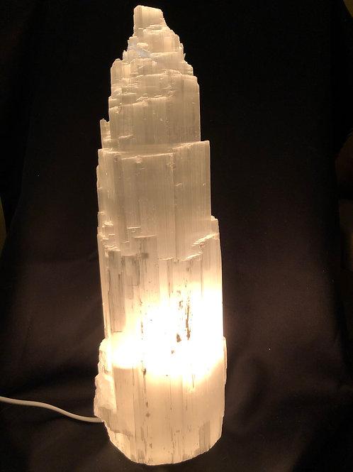 Selenit Lampe ca. 36 cm. høj meget smuk kvalitet