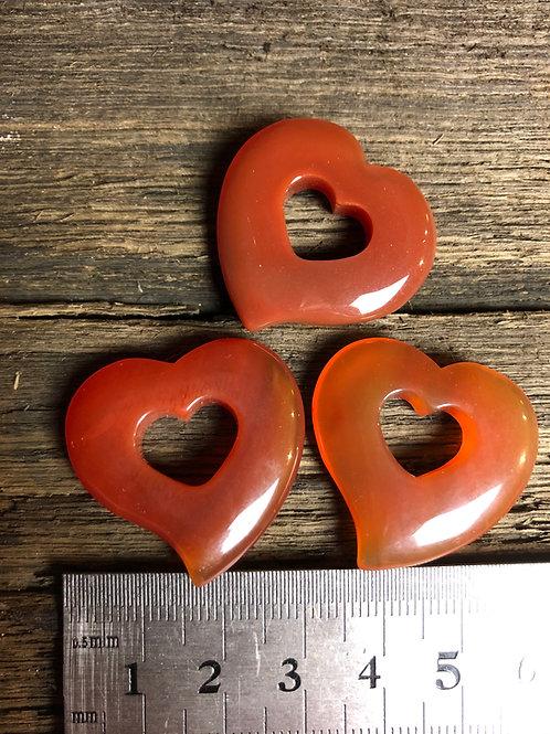 Karneol hjerte ca. 7 gr.