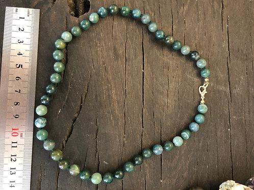 Agat mos halskæde ca. 45 cm. 8 mm. perler
