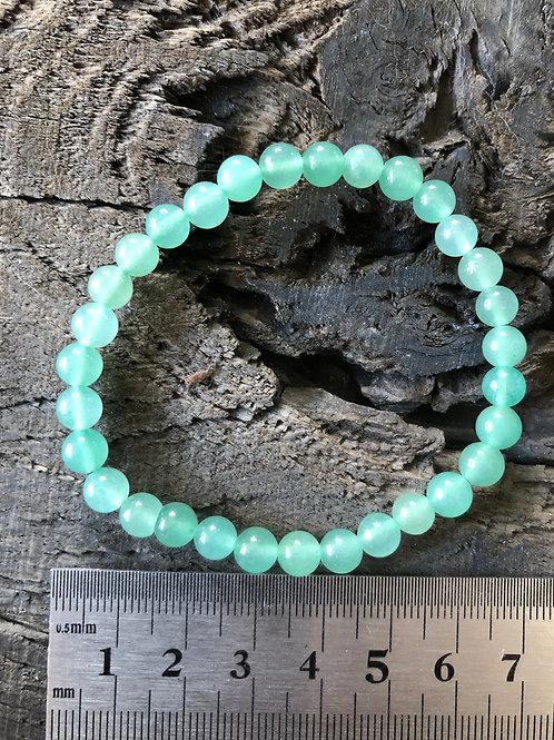 Aventurin grøn armbånd 6 mm. perler ca. 11 gr.