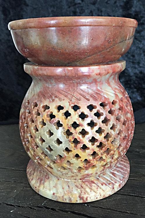 Olie lampe hånd udskåret i fedtsten ca. 600 gr.