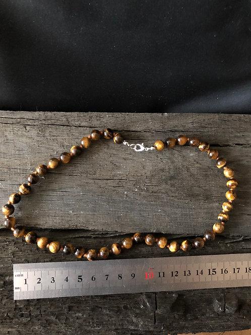 Tigerøje 8 mm. perler halskæde 45 cm.