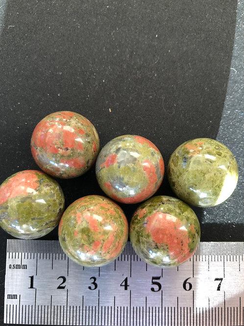 Jaspis Unakit kugle 2 mm. 1 stk.