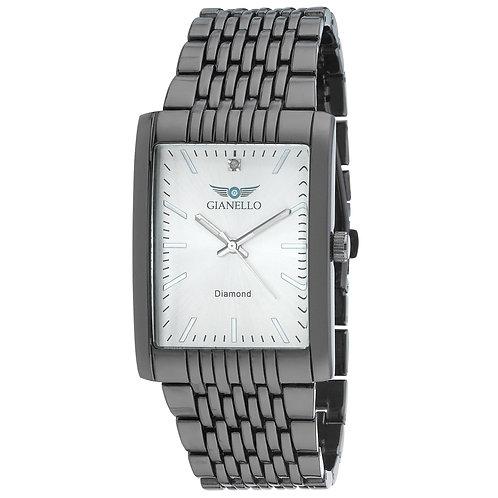 Gianello Mens Genuine Diamond Dial Tank Case Stainless Steel Bracelet Watch