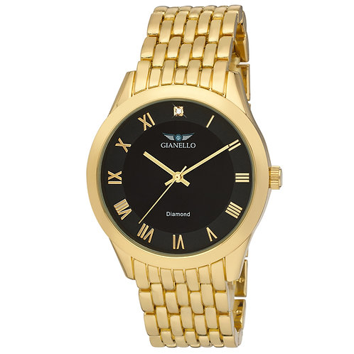 Gianello Mens Genuine Diamond Dial 5 Link Watch Carat Size 1/10