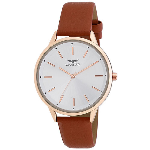 Gianello Mens Minimalist Round Case Strap Watch