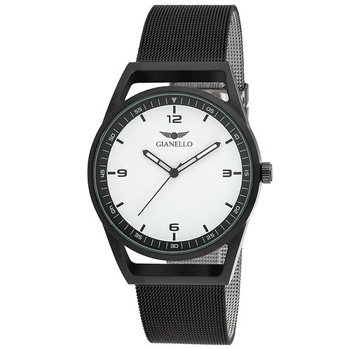 Gianello Mens Turin Mesh and Vegan Leather Strap Watch