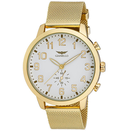 Gianello Mens Large Number 48mm Round Mesh Watch