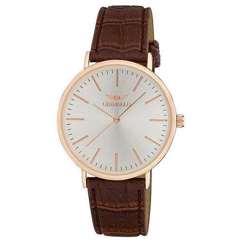 Gianello GNL7714 Case Sleek Leather Strap Watch