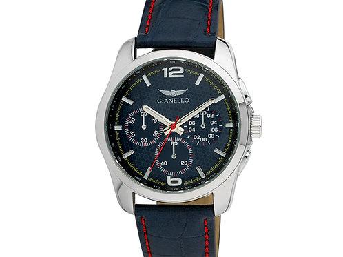 Gianello Mens Italian Design Two Tone Stitching Strap Watch