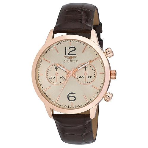 Gianello Mens GNL7719 Alligator Strap 42mm Bracelet Watch